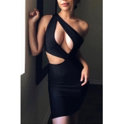 Lovely Sexy One Shoulder Hollow-out Black Mini Dre