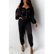Lovely Trendy Buttons Design Black One-piece Jumps