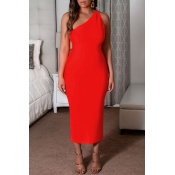 Lovely Casual One Shoulder Red Ankle Length Dress