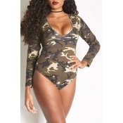 Lovely Camouflage Print Army Green Plus Size One-p