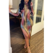 Lovely Trendy Print Multicolor Mid Calf Dress(Batc