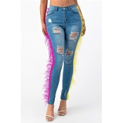 Lovely Chic Tassel Design Blue Jeans