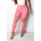 Lovely Trendy Broken Holes Pink Jeans