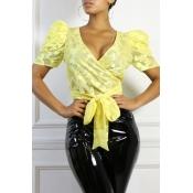 Lovely Trendy V Neck Lace-up Yellow Blouse