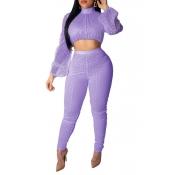 Lovely Trendy Dot Print Purple Two-piece Pants Set