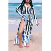 Lovely Striped Print Blue One-piece Swimsuit(With