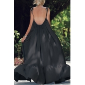 Lovely Chic Backless Loose Black Plus Size Maxi Dr