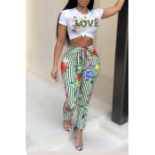 Lovely Casual Floral Print Green Two-piece Pants S