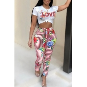 Lovely Casual Floral Print Red Two-piece Pants Set
