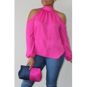 Lovely Trendy Dew Shoulder Pink Blouse