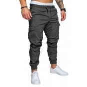 Men Lovely Casual Drawstring Dark Grey Pants