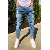 Lovely Casual Zipper Design Blue Jeans