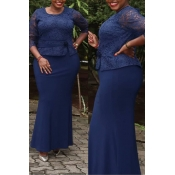 Lovely Casual Patchwork Dark Blue Maxi Trumpet Mer