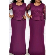 Lovely Casual Patchwork Purple Maxi Trumpet Mermai