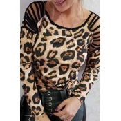 Lovely Casual Hollow-out Leopard Print T-shirt