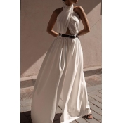 Lovely Chic Backless Loose White One-piece Jumpsui