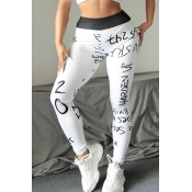Lovely Casual Print Skinny White Pants