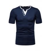 Lovely Casual Short Sleeve Navy Blue T-shirt