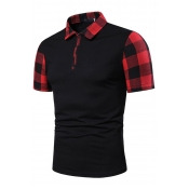 Lovely Chic Plaid Print Black And White Polo Shirt