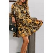 Lovely Casual O Neck Print Gold Mini Dress