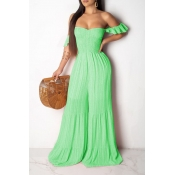 Lovely Stylish Flounce Desogn Loose Green One-piec
