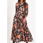 Lovely Chic Floral Print Black Ankle Length Dress