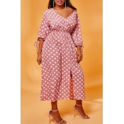 Lovely Casual Dot Print Pink Mid Calf Plus Size Dr