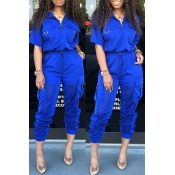Lovely Chic Pocket Patchwork Deep Blue Two-piece P