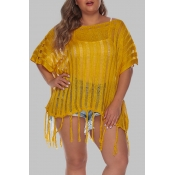 Lovely Casual Tassel Yellow Plus Size Beach Blouse