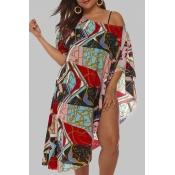 Lovely Chic Print Multicolor Plus Size Beach Blous