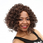 Lovely Leisure Curly Short Brown Wigs
