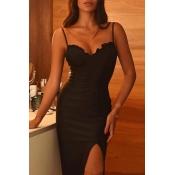 Lovely Sexy Flounce Design Black Mid Calf Dress