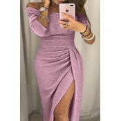 Lovely Party Fold Design Skinny Pink Mini Dress