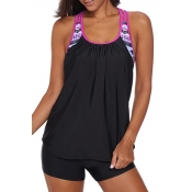 Lovely Casual Patchwork Pink Swimdresses