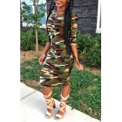 Lovely Chic Camo Print Knee Length Dress