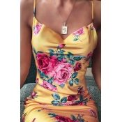 Lovely Chic Spaghetti Strap Print Yellow Mini Dres