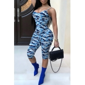 Lovely Casual Camo Print Blue One-piece Jumpsuit