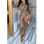 Lovely Casual Leopard Print One-piece Jumpsuit