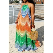 Lovely Casual Print Loose Multicolor Maxi Dress