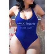 Lovely Backless Royal Blue Plus Size One-piece Swi