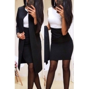 Lovely Work Patchwork Black Two-piece Skirt Set