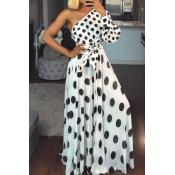 Lovely Chic Dot Print Black And White Maxi Dress
