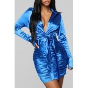 Lovely Trendy Deep V Neck Fold Design  Blue Mini D