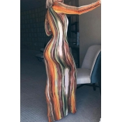 Lovely Leisure Striped Print Croci Maxi Dress