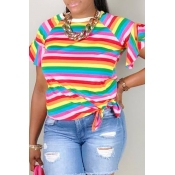 Lovely Casual Striped Multicolor T-shirt