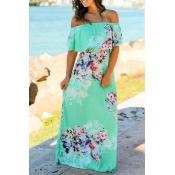 Lovely Chic Print Flounce Light Green Dress