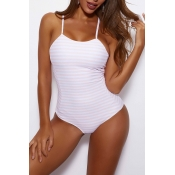 Lovely Lace-up Striped Pink One-piece Swimsuit