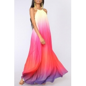 Lovely Leisure Print Pink Maxi Dress