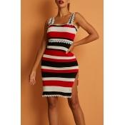 Lovely Trendy Striped White Mini Dress