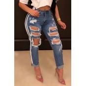 Lovely Trendy Striped Blue Jeans